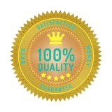 Quality guarantee badge isolated on white. Product quality guarantee satisfaction money back quality badge style design element on white background royalty free illustration