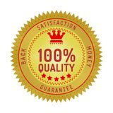 Quality guarantee badge isolated on white. Product quality guarantee satisfaction money back quality badge style design element on white background stock illustration