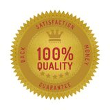Quality guarantee badge isolated on white. Product quality guarantee satisfaction money back quality badge style design element on white background vector illustration