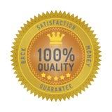 Quality guarantee badge isolated on white. Product quality guarantee satisfaction money back quality badge style design element on white background Stock Image