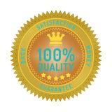 Quality guarantee badge isolated on white. Product quality guarantee satisfaction money back quality badge style design element on white background Royalty Free Stock Photo