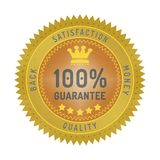 Quality guarantee badge isolated on white. Product quality guarantee satisfaction money back quality badge style design element on white background Stock Images