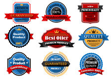 Quality and guarantee flat labels with heraldic Royalty Free Stock Image