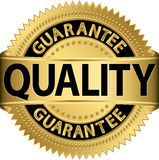 Quality guarantee golden label. Vector illustration Stock Photos