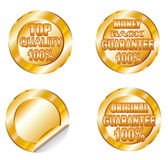 Quality and Guarantee Golden Labels Stock Photos