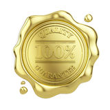 100% quality guarantee golden wax seal isolated on white background. 3d illustration Royalty Free Stock Photography