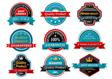 Quality guarantee retro labels collection. Collection of quality guarantee and 100 quality product labels, stickers or badges in retro style with ribbon banners Royalty Free Stock Photography