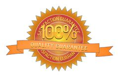 100% quality guarantee ribbon and badge. Style design element on white background Stock Photos