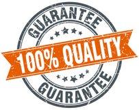100% quality guarantee round orange vintage isolated stamp. 100% quality guarantee round orange grungy vintage isolated stamp Stock Illustration
