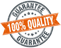 100% quality guarantee round orange stamp. 100% quality guarantee round orange grungy vintage isolated stamp Stock Photos