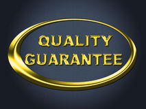 Quality Guarantee Sign Shows Guaranteed Placard And Check Stock Photo
