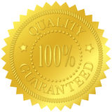 Quality Guaranteed Gold Seal. With embossed decorations Stock Photos