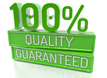 100% Quality Guaranteed, 100 percent, 3d banner - , on w Royalty Free Stock Photos