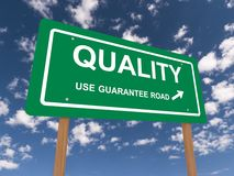 Quality guaranteed sign. Quality use guarantee road sign with arrow, blue sky and cloudscape background Stock Photos