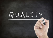 Quality with hand writing Royalty Free Stock Photos