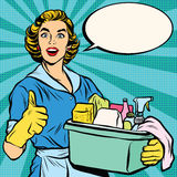Quality home cleaning, pop art retro housewife Royalty Free Stock Photo