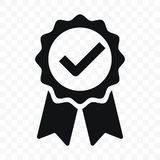 Quality icon certified check mark ribbon label. Vector premium product certified or best choice recommended award and warranty. Quality icon, certified check royalty free illustration