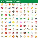 100 quality icons set, cartoon style. 100 quality icons set in cartoon style for any design illustration stock illustration