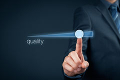 Quality improve. Manager (businessman, coach, leadership) plan to improve quality Royalty Free Stock Photos