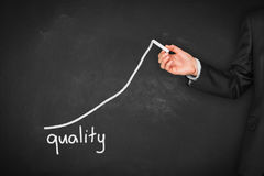 Quality improve. Manager businessman, coach, leadership plan to improve quality Royalty Free Stock Photo