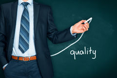 Quality improve. Manager businessman, coach, leadership plan to improve quality Stock Photography