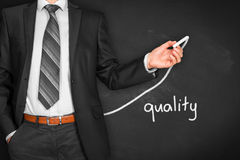 Quality improve. Manager businessman, coach, leadership plan to improve quality Stock Image
