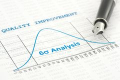 Quality Improvement. Is shown by a six sigma curve stock image