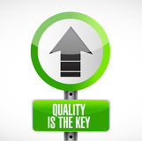 Quality is the key arrow road sign concept Stock Images