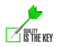 Quality is the key check dart sign concept Stock Photo
