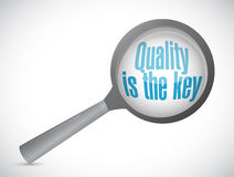 Quality is the key magnify review sign concept Stock Images