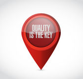 Quality is the key pointer sign concept Stock Images