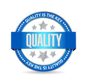 Quality is the key seal sign concept illustration. Design over white Royalty Free Stock Image