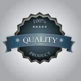 Quality label. Blue quality label with five stars Stock Image