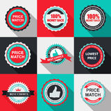 Quality Label Sign Set in Flat Modern Design with Long Shadow. Vector Illustration Stock Images