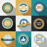 Quality Label Sign Set in Flat Modern Design with Long Shadow. Vector Illustration Stock Photo