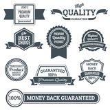 Quality labels black set Stock Images