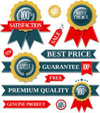 Quality labels and seal ribbons Royalty Free Stock Photography