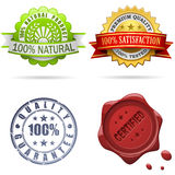 Quality labels and seals. Set isolated on white Royalty Free Stock Image