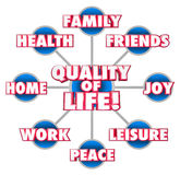 Quality of Life Diagram Firends Family Home Enjoyment Happiness. Quality of Life 3d words on a grid or diagram with important factors of your enjoyment including Stock Photo