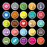 Quality life line flat icons with long shadow Royalty Free Stock Photo