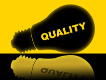 Quality Lightbulb Indicates Check Approved And Certified. Quality Lightbulb Representing Approve Perfect And Lamp Royalty Free Stock Images
