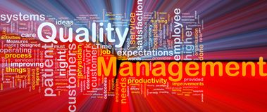 Quality management background concept glowing Stock Photography