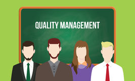 Quality management concept in a team illustration with text written on chalkboard Royalty Free Stock Images