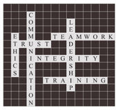 Quality management crossword puzzle. Newspaper style Royalty Free Stock Photos