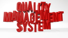Quality management system. 3d text and white background Stock Image