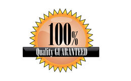 Quality mark. Orange illustration of 100% quality guaranteed mark on white background stock illustration