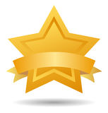 Quality mark gold star. Gold star with ribbon on white background Stock Photo