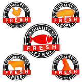 Quality meat sign. Pork beef chicken and fish quality meat sign isolated in white background Royalty Free Stock Images
