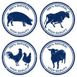 Quality meat stamps. Illustrated set of different high quality meat stamps with different farm animals, white background Royalty Free Stock Photos