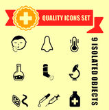 Quality medical illness icons Royalty Free Stock Images